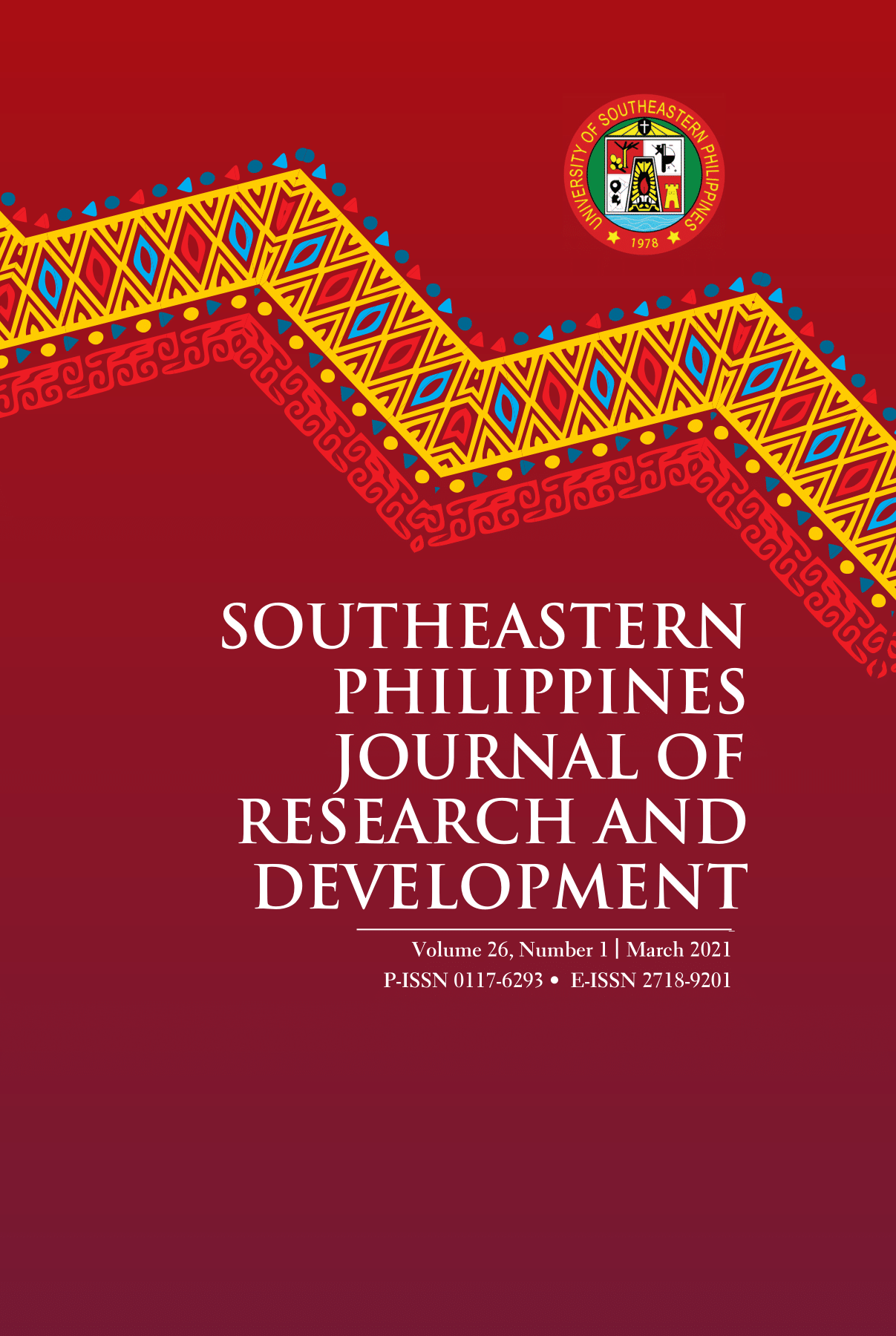 spjrd Southeastern Philippines Journal of Research and Development Volume 26, Number 1 March 2021 P-ISSN 0117-6293 E-ISSN 2718-9201